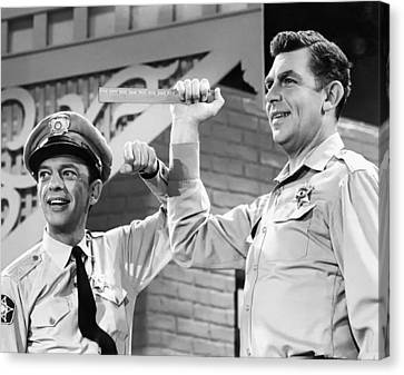 Don Knotts Canvas Print - Andy Griffith And Don Knotts - 1970 by Mountain Dreams