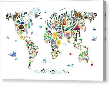 Children Canvas Print - Animal Map Of The World For Children And Kids by Michael Tompsett