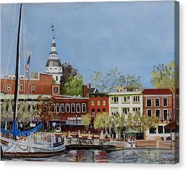 Annapolis Harbor Canvas Print by Mary Susan Vaughn
