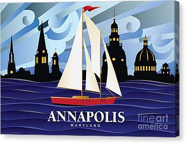 Annapolis Skyline Red Sail Boat Canvas Print