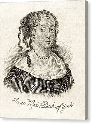 Anne Hyde Duchess Of York 1637-1671 Canvas Print by Vintage Design Pics
