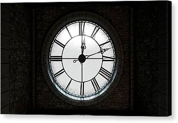 Antique Backlit Clock Canvas Print by Allan Swart