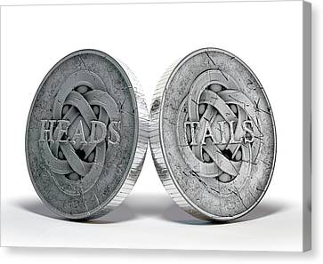 Antique Coins Heads And Tails Canvas Print by Allan Swart