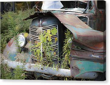 Canvas Print featuring the photograph Antique Mack Truck by Charles Harden