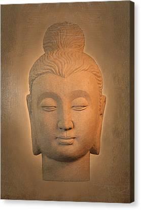 antique oil effect Buddha Gandhara. Canvas Print by Terrell Kaucher