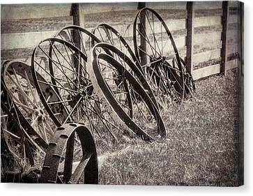 Wagon Wheels Canvas Print - Antique Wagon Wheels I by Tom Mc Nemar