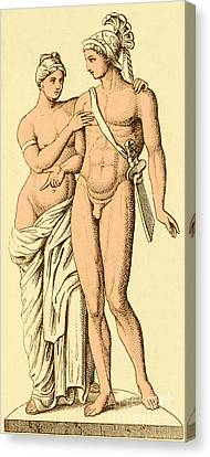 Aphrodite And Ares, Greek Olympians Canvas Print by Photo Researchers