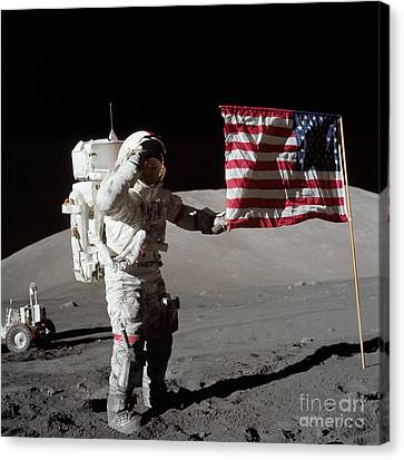 Apollo 17 Astronaut Salutes The United Canvas Print by Stocktrek Images