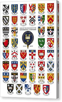 Arms Of The Colleges Of The University Of Oxford Canvas Print by Scott Nourse