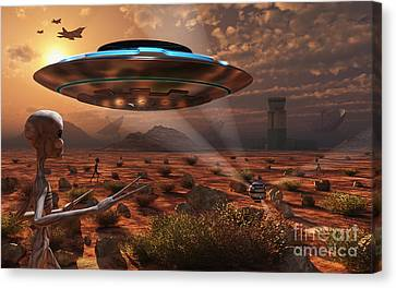 Artists Concept Of Stealth Technology Canvas Print by Mark Stevenson