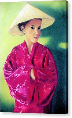 Canvas Print featuring the pastel Asia As Asian by Jan Amiss