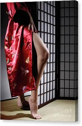 Asian Woman In Red Kimono Canvas Print
