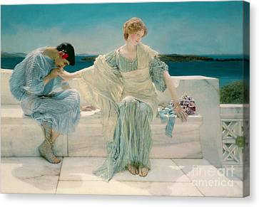 Dates Canvas Print - Ask Me No More by Sir Lawrence Alma-Tadema