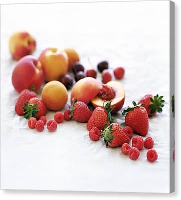Assortment Of Summer Fruit Canvas Print by David Munns