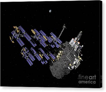 Asteroid Mining Outpost Canvas Print