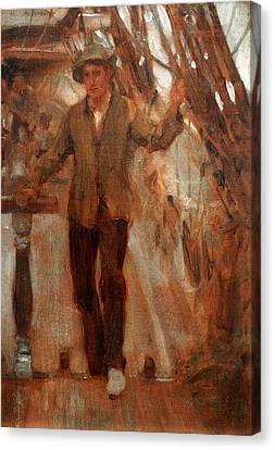 Canvas Print featuring the painting At The Break Of The Poop  by Henry Scott Tuke