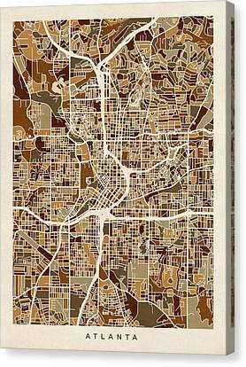 Atlanta Georgia City Map Canvas Print by Michael Tompsett