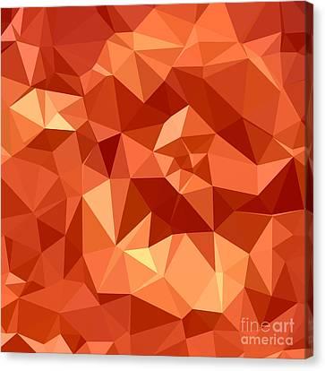 Atomic Tangerine Orange Abstract Low Polygon Background Canvas Print