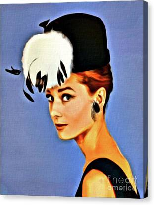 Audrey Hepburn, Digital Art By Mary Bassett Canvas Print