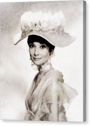 Audrey Hepburn, Vintage Hollywood Legend Canvas Print by John Springfield