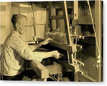 Gatlinburg Tennessee Canvas Print - Aunt Lizzie Reagan Weaving - Gatlinburg Tennessee 1933 by Mountain Dreams