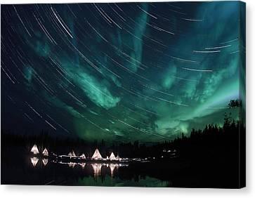 Aurora And Star Trails Canvas Print by Yuichi Takasaka