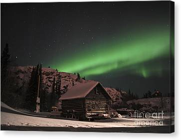 Aurora Borealis Over A Cabin, Northwest Canvas Print by Jiri Hermann