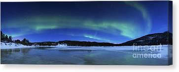 Aurora Borealis, Tennevik Lake, Troms Canvas Print by Arild Heitmann