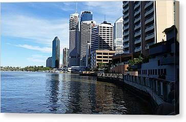 Australia - Brisbane River Boardwalk Canvas Print by Jeffrey Shaw
