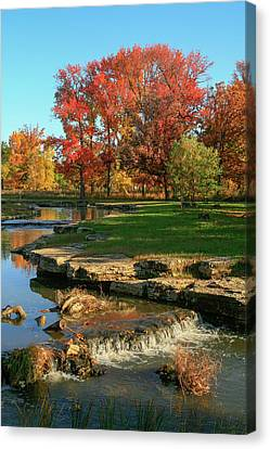 Autumn At The Deer Lake Creek Riffles In Forest Park St Louis Missouri Canvas Print by Garry McMichael