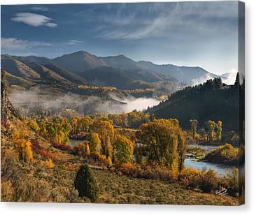 Autumn Light Along The Snake River Canvas Print by Leland D Howard