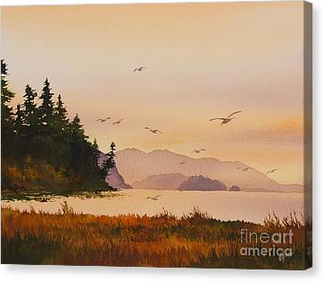 Canvas Print featuring the painting Autumn Shore by James Williamson
