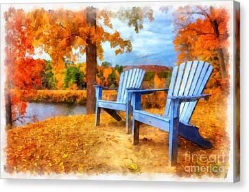 Autumn Splendor Watercolor Canvas Print by Edward Fielding