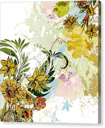 Autumn Sunflower Digital Illustration Canvas Print by Heinz G Mielke