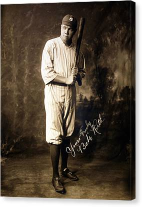 Baseball Uniform Canvas Print - Babe Ruth, 1920 by Everett