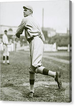 Baseball Glove Canvas Print - Babe Ruth Pitching by Jon Neidert