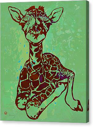 Baby Giraffe - Pop Modern Etching Art Poster Canvas Print by Kim Wang