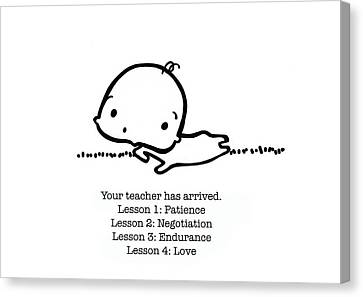 Canvas Print featuring the drawing Baby Teacher by Leanne Wilkes