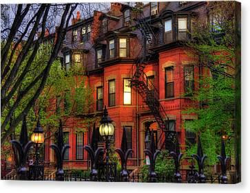 Back Bay Boston Brownstones In Spring Canvas Print