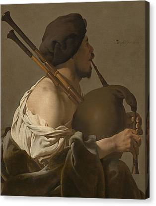 Bagpipe Player Canvas Print by Hendrick Ter Brugghen