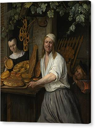 Steen Canvas Print - Baker Arent Oostwaard And His Wife Catharina Keizerswaard by Jan Steen