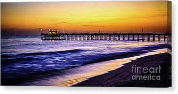 Balboa Pier At Sunset In Newport Beach California Canvas Print by Paul Velgos