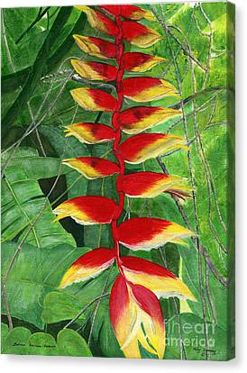 Canvas Print featuring the painting Balinese Heliconia Rostrata by Melly Terpening