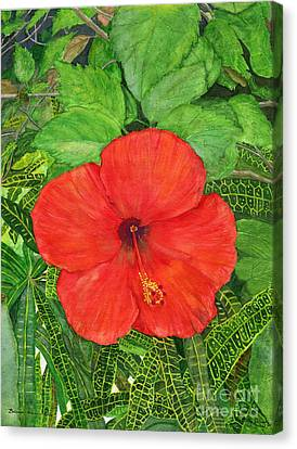 Canvas Print featuring the painting Balinese Hibiscus Rosa by Melly Terpening