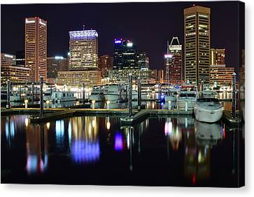Baltimore Harbor Lights Canvas Print by Frozen in Time Fine Art Photography