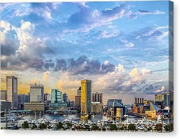 Baltimore Harbor Skyline Canvas Print by Susan Candelario