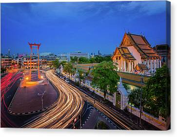 Bangkok Red Swing Canvas Print by Anek Suwannaphoom