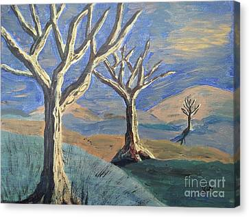 Bare Trees Canvas Print by Judy Via-Wolff