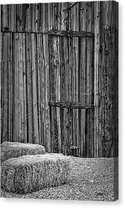 Barn Doors And Hay Canvas Print by Susan Candelario