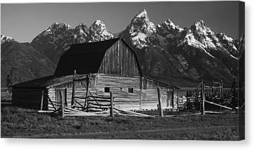 Barn In The Mountains Canvas Print by Andrew Soundarajan